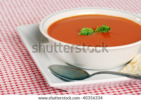tomato soup focus on front edge of bowl - stock photo