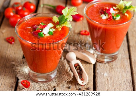 Tomato soup gazpacho in a glass - stock photo