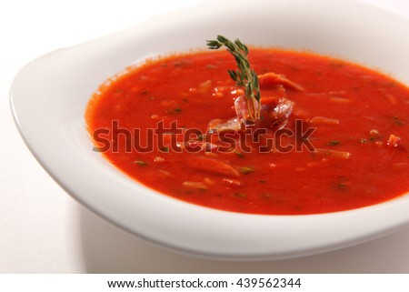 tomato soup with Bacon in plate - stock photo