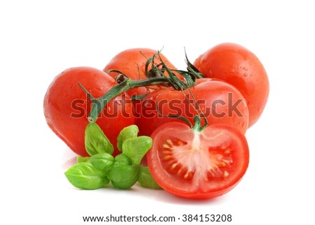 Tomato. Tomato vegetables isolated on white background . Fresh tomatoes, tomato fruit. Tomatoes with basil. Red tomato. red tomatoes. - stock photo