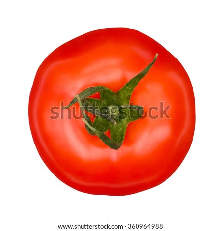 Tomato top view isolated on white with clipping path - stock photo