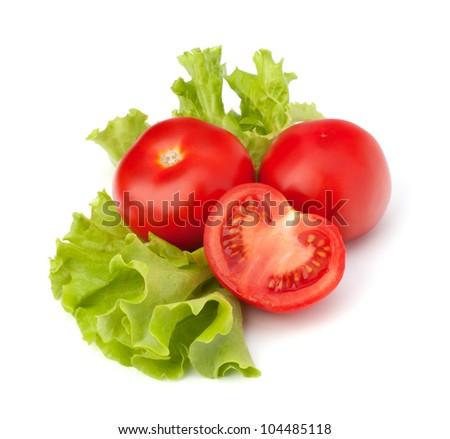 tomato vegetable and lettuce salad isolated on white background - stock photo