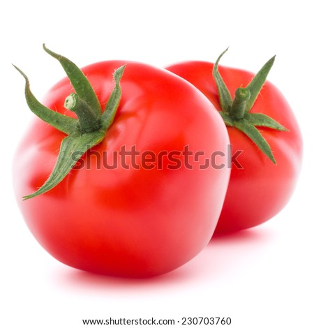 Tomato vegetable isolated on white background cutout - stock photo