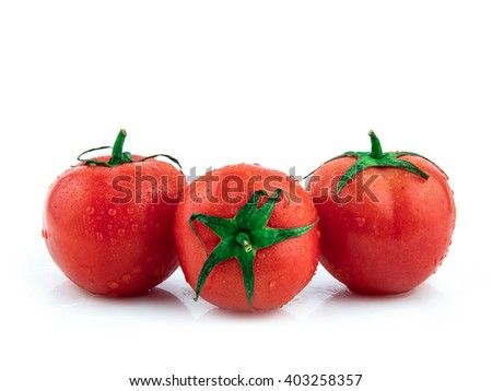 Tomato with drops isolated on white background / Tomato branch with water drops / seamless perfect close-up studio object / market fresh natural diet food / cherry