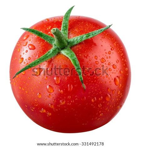 Tomato with drops isolated on white. With clipping path. - stock photo
