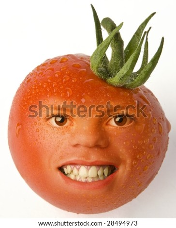 tomato with smile - stock photo