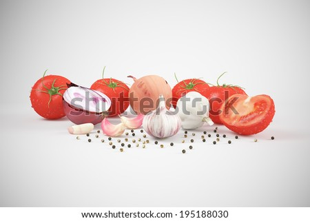 Tomato with spices on white background - stock photo