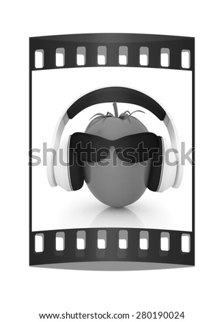 "tomato with sun glass and headphones front ""face"" on a white background. The film strip - stock photo"