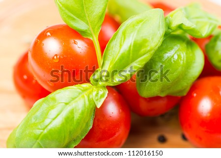 tomatoes and basil on wooden cutting board - stock photo