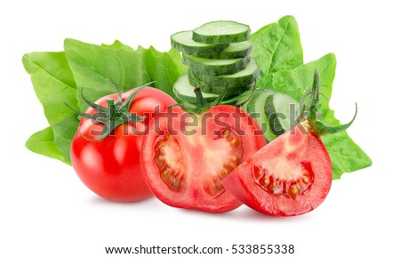 tomatoes and cucumbers isolated on the white background