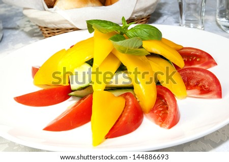 tomatoes and peppers on a white plate