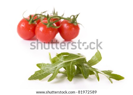 Tomatoes and rucola leaves isolated on white - Focus on the rucola