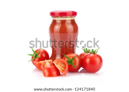 Tomatoes and sauce on white background - stock photo