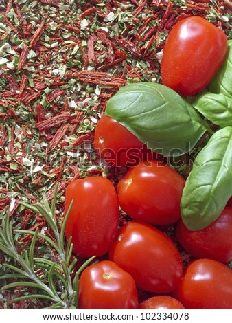 Tomatoes, basil and rosemary on herbs