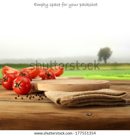 tomatoes food and desk  - stock photo