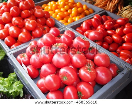 Tomatoes for sale at a food market in Kazimierz, the Jewsh quarter of Krakow - stock photo