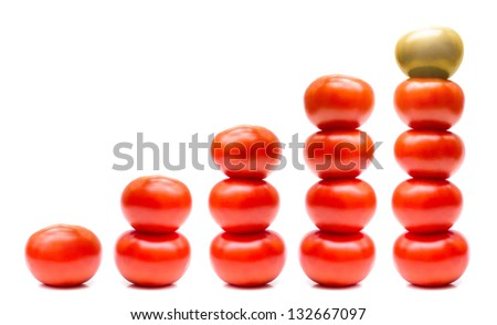 Tomatoes growth concept isolated on white