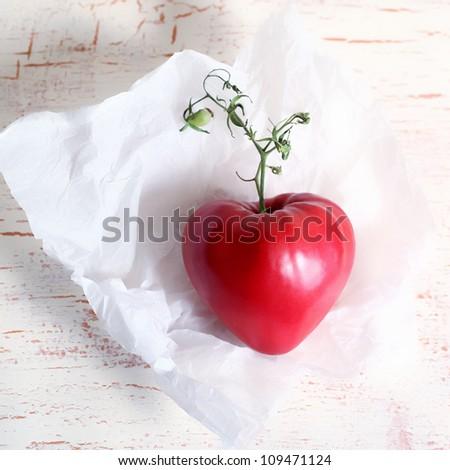 Tomatoes heart - stock photo