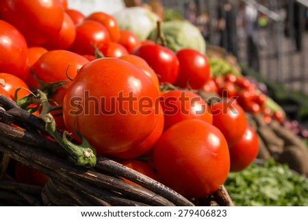 Tomatoes in the wicker basket