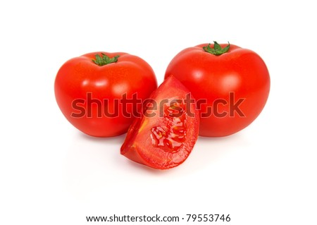 Tomatoes isolated in white background - stock photo