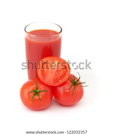 Tomatoes juice and group from tomatoes
