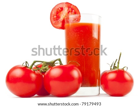 Tomatoes juice and group from tomatoes on white