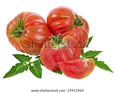 tomatoes large heart shaped close up isolated on white background - stock photo