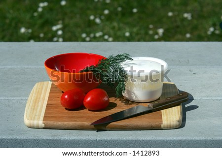 Tomatoes on picnic table, Olympic National Park, WA - stock photo