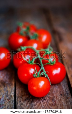 Tomatoes on the vine on rustic wooden background - stock photo