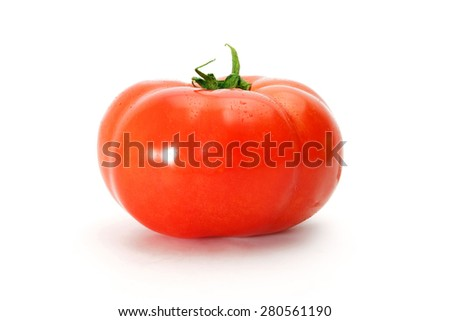 Tomatoes. One fresh delicious whole tomato isolated on a white background.  - stock photo