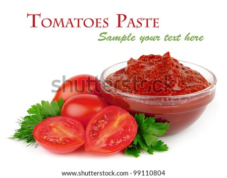 Tomatoes paste with greens - stock photo