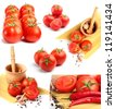 tomatoes, peppers, spaghetti and spices collage - stock photo