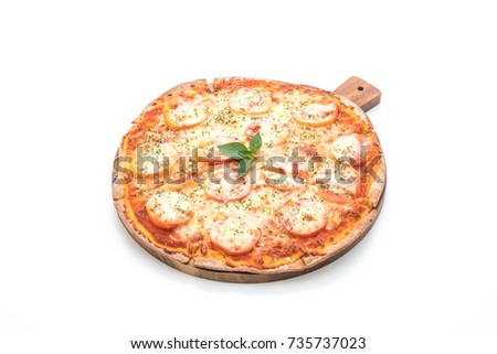 tomatoes pizza isolated on white background - Italian food style