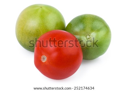 tomatoes red green isolated over white - stock photo