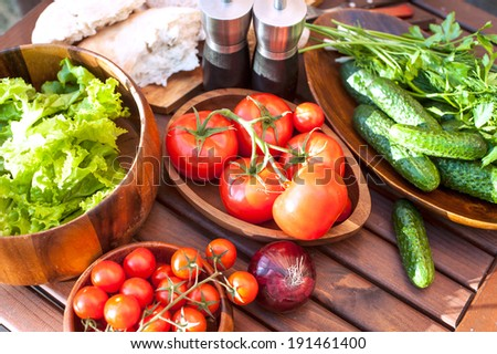 Tomatoes, salad and cucumbers-vegetables for spring picnic. Outdoors still-life. - stock photo