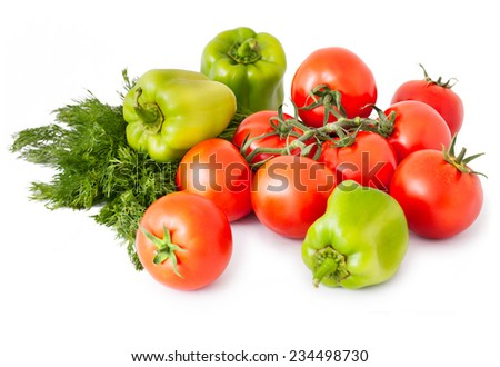 Tomatoes, three green peppers and fennel on white background