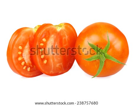 Tomatoes, whole and sliced, isolated on white background.