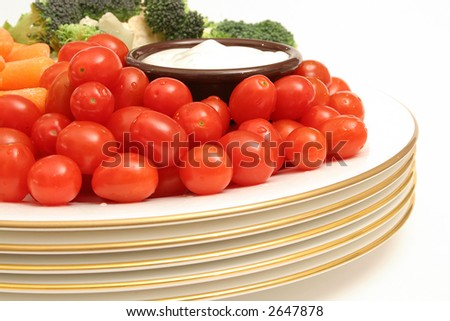 tomatoes with assorted vegetables - stock photo