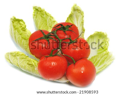 tomatoes with leaves cabbage on isolated background