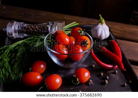 tomatos, chilli and dill - stock photo
