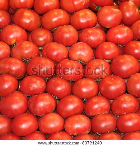 tomatos in a market - stock photo