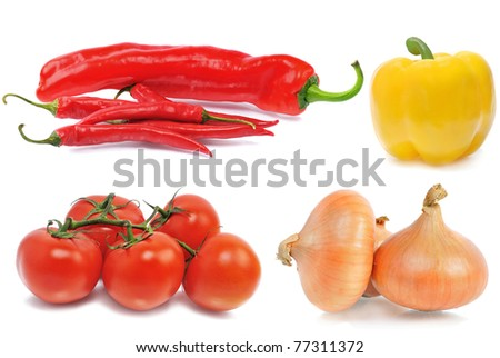 tomatos, onions yellow and red hot chili peppers on isolated background - stock photo