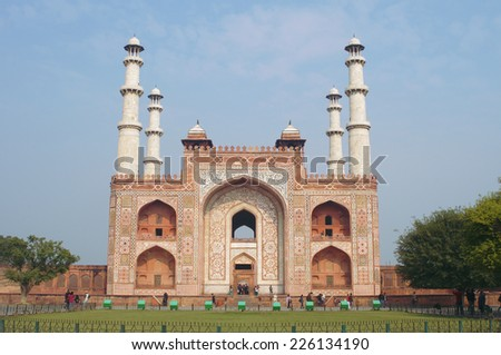 Tomb of Akbar the Great in Agra, Delhi - stock photo