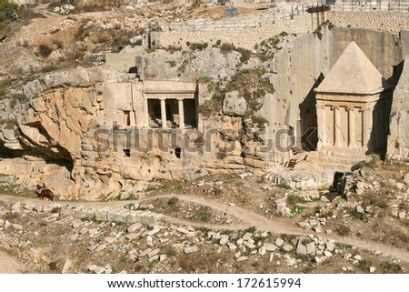 Tomb of of the priest Zechariah located on ancient jewish 3000 years old cemetery on Mount of Olives in Jerusalem, Israel. - stock photo