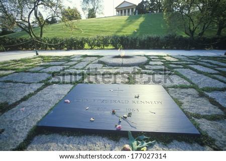 Tomb of President John F. Kennedy,  Arlington Cemetery, Washington, D.C. - stock photo