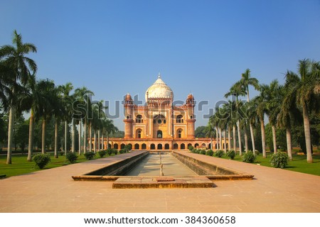 Tomb of Safdarjung in New Delhi, India. It was built in 1754 in the late Mughal Empire style. - stock photo
