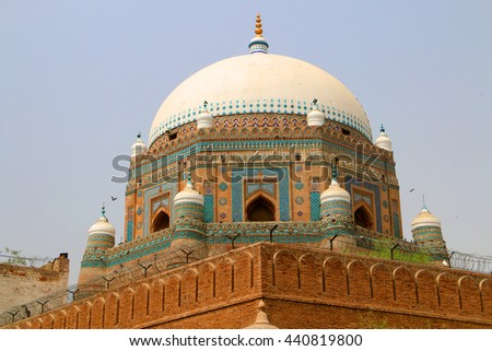 Tomb of Shah Rukn-e-Alam in Multan Pakistan. Over 100,000 people visit this tomb every year from all over South Asia.