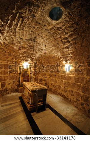 Tomb of St. George the Dragon Slayer, in Lod, Israel - stock photo