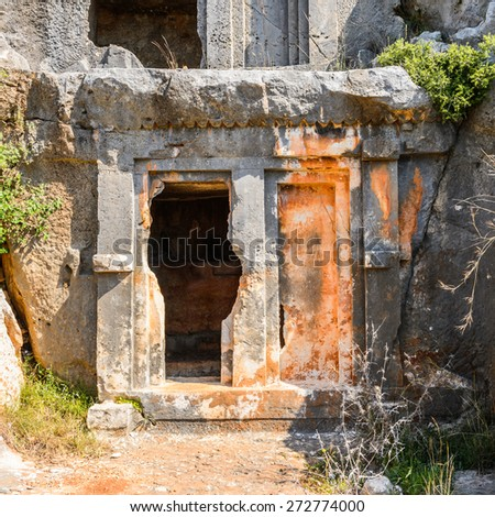 Tomb of the ancient cemetery, Limyra, Turkey.