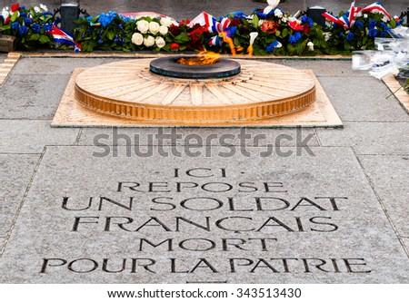 tomb of the unknown soldier in paris - stock photo
